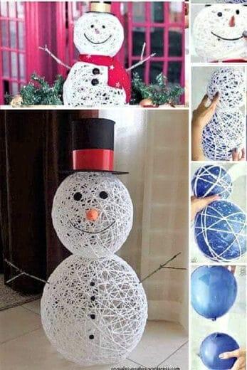 Easy DIY String Snowman Christmas Decor Idea