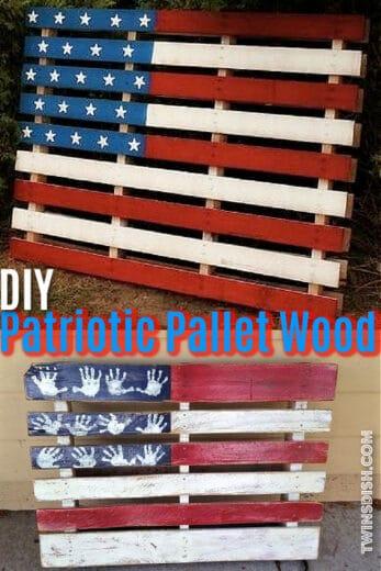 DIY Pallet Wood American Flag Porch Decor Idea