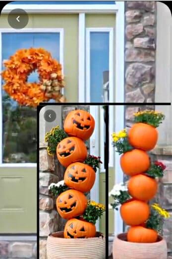 Dollar Store Pumpkin Halloween and Thanksgiving decor planter