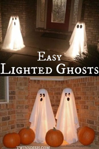 DIY Lighted Ghosts on Porch