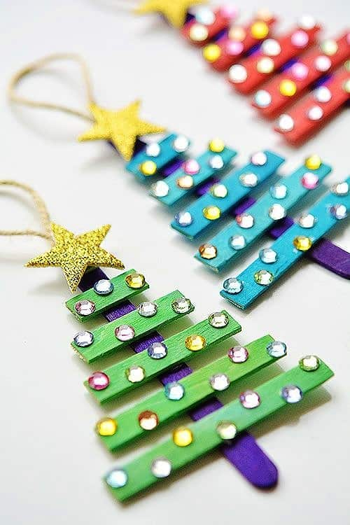 Easy DIY Glittering Popsicle Tree Ornament. Simple yet beautiful dollar store craft gift idea anyone can make, even kids,