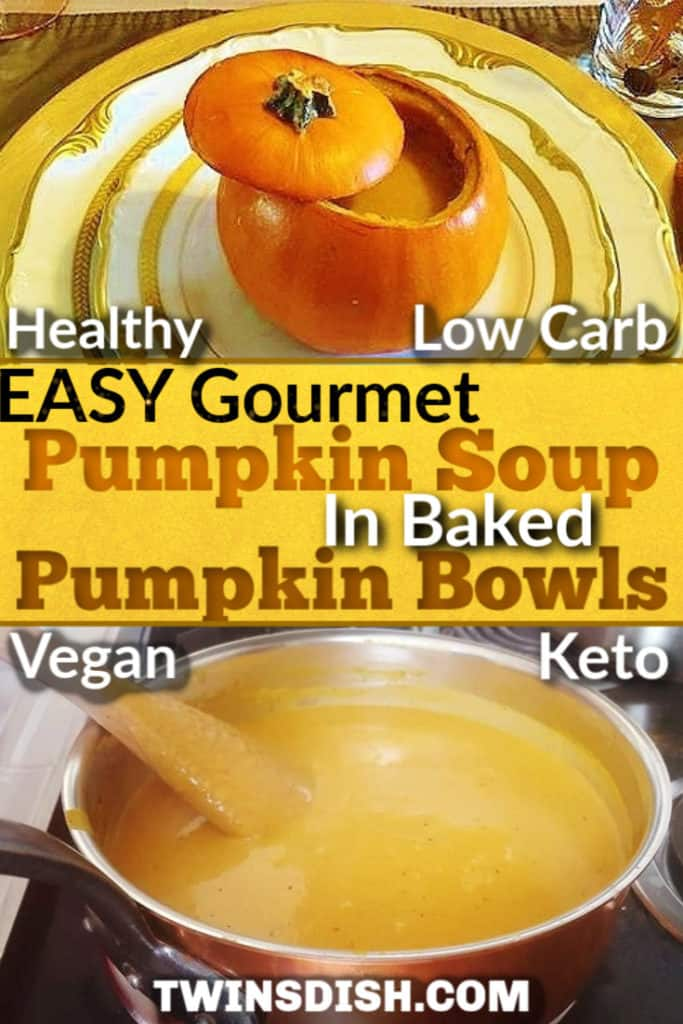 The most delicious pumpkin soup recipe I've ever had. Recipe only takes 20 minutes and includes DIY pumpkin bowls. Keto, paleo, low fat, and vegan. Healthy and delicious.