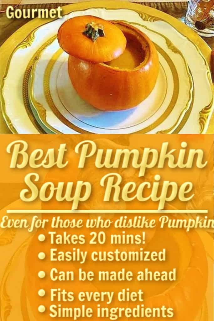Best healthy Pumpkin Soup recipe using canned pumpkin and coconut milk. Easy Fall or Thanksgiving recipe that tastes gourmet.