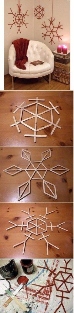 Easy DIY Snowflake Popsicle Stick Farmhouse Christmas Decoration for kids to make