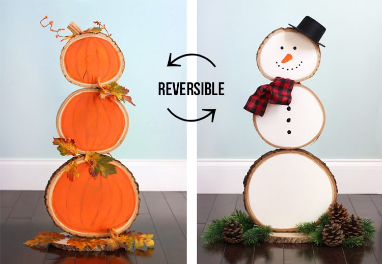 Reversible Wood Front porch decor for Fall and Winter