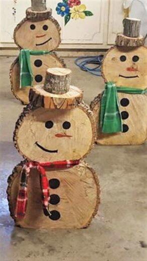 Easy DIY Outdoor Wood Christmas Decor Wood Tree Snowman