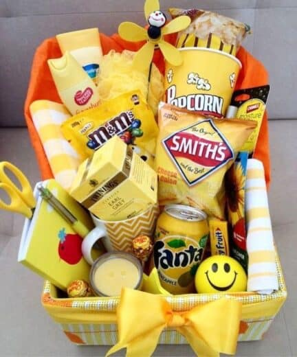DIY Box of Sunshine Gift basket Idea for College students and Christmas