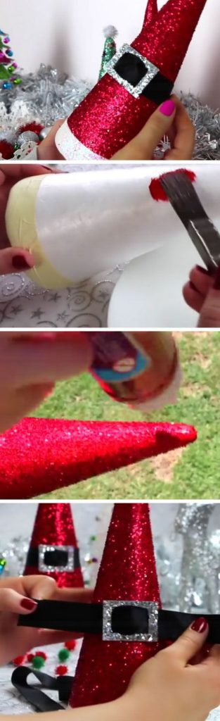 Easy DIY Christmas Decor Ideas Santa Cone Hat Craft