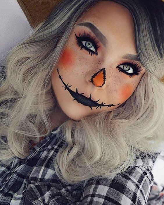 Easy Last Minute DIY Halloween Make Up, ScareCrow
