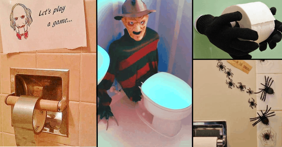 Easy DIY Halloween Party bathroom Decorations that will scare the crap out of your guests