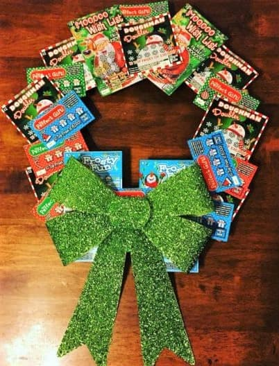 Christmas Wreath made out of Lotto Scratchers