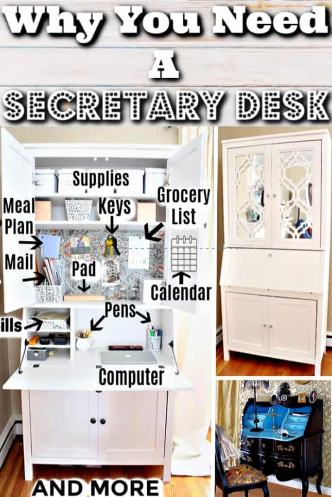 Secretary Desk DIY Inspiration. The best desk for small spaces like dorms, apartments, and bedrooms. Great for home offices too.