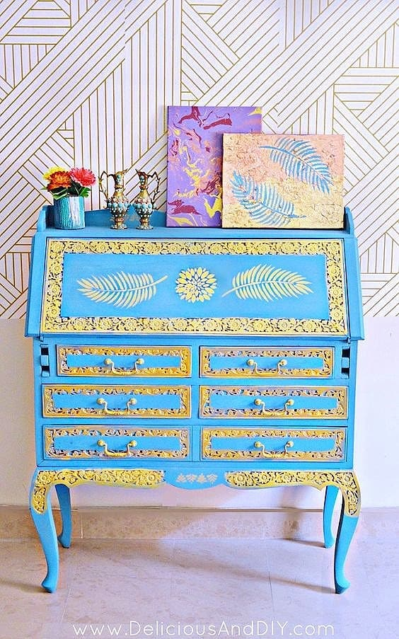 Blue and gold stenciled Secretary Desk perfect small office Space Solution, Dorm Furniture, Apartment Furniture, DIY, Small Office, Home Office, and Organization idea.