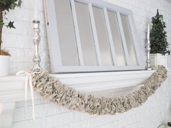 DIY Farmhouse glam burlap garland in silver