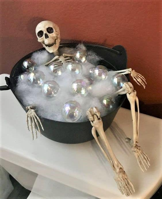 Skeleton in wash tub bathroom decoration
