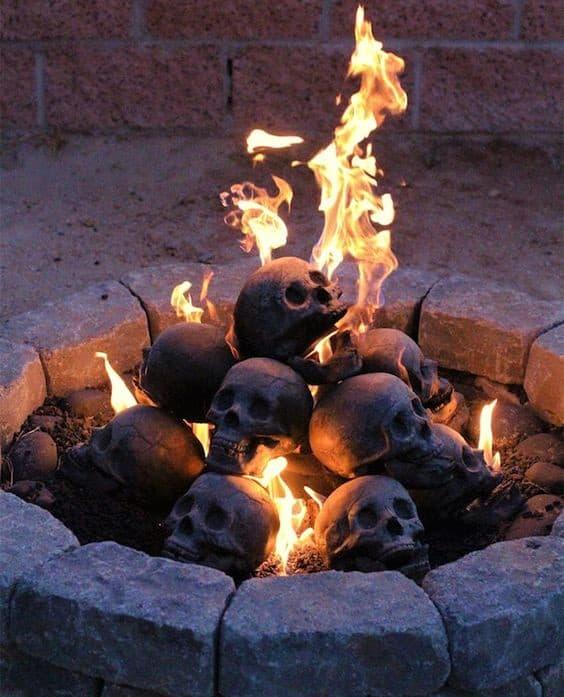 Halloween Cement Skulls in Fire Pit