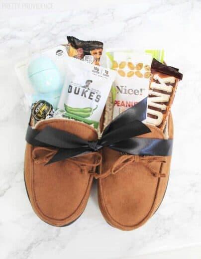 Mens Slippers Gift Basket Idea
