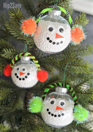 DIY Snowman Clear ball Christmas ornament