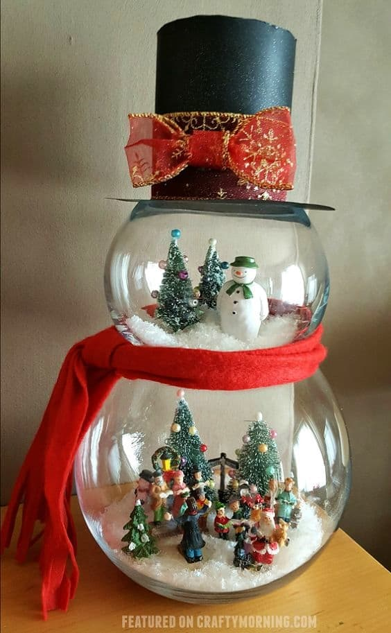Easy DIY Fish Bowl Snowman. Elegant Christmas Decoration idea for the mantle, table, wedding, party. Great budget decor.