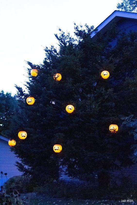 Solar Halloween Tree Pumpkins