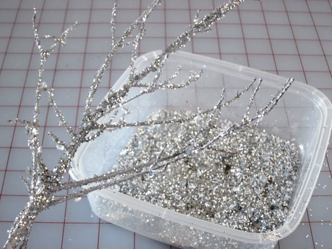 Easy DIY Glitter Branch Christmas Decor idea and craft
