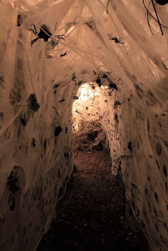 Spider web walls Halloween party decoration