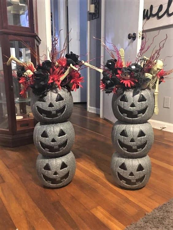Halloween Pumpkin Decoration Made with dollar stor pails