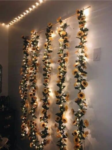 Sunflower Vine fairy and LED strip lights