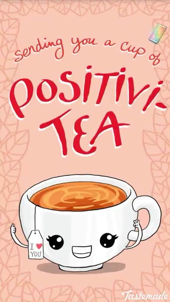 Sending You A Cup Of Positivi Tea pun for a great easy, quick, witty and clever, DIY Valentines Day gift idea