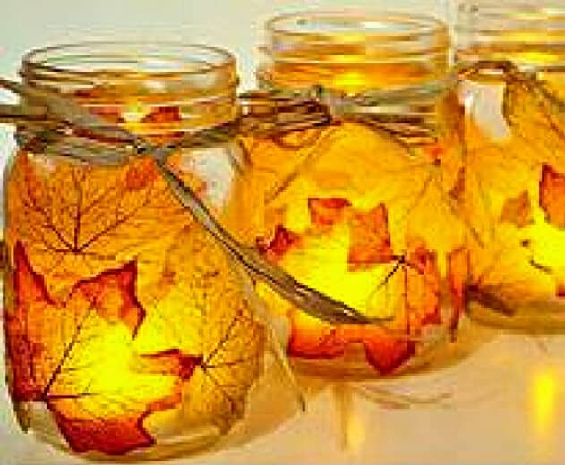 Easy DIY Fall Votive Craft with Leaves