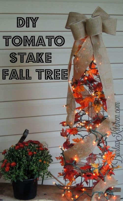 Tomato Stake Fall Tree Craft for Porch