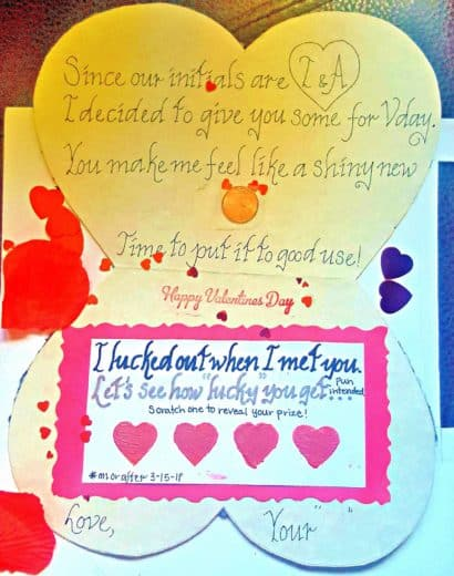 Easy DIY Lingerie Valentines Day Card for him with DIY lotto scratchers, is better than store bought. Made of old pajamas and lace, perfect for a long distance relationship, Anniversary, or even Birthday.