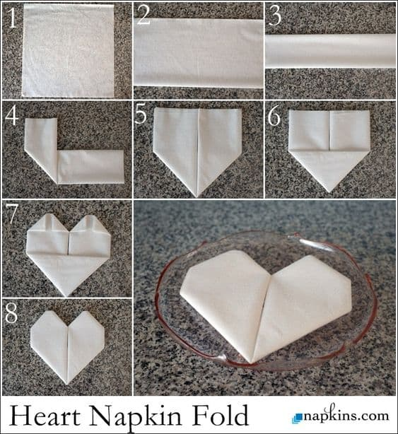 How To Fold Your Napkin into a Heart for Valentines Day dinner, brunch or lunch. DIY ideas for him, for her, for galentines, for kids, for date night, for boyfriend, from The Ultimate DIy Guide To Valentines Day