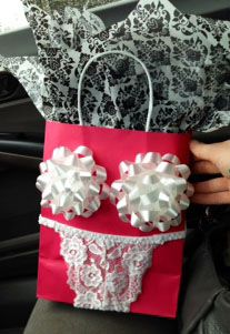 Easy DIY Valentines Day Sexy & Funny Lingerie Gift Bag , from the Ultimate DIY Valentines Day Guide, gifts for him, DIY boyfriend gifts, Valentines Day decor, crafts, kids, for her