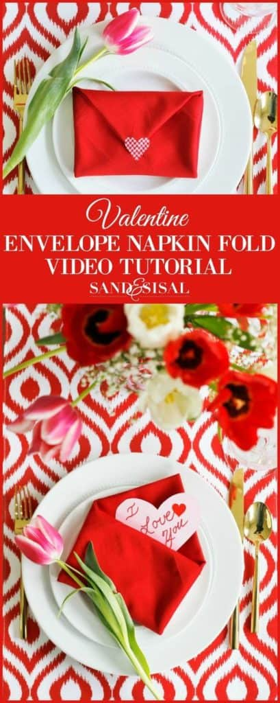 How To Fold A Napkin into a Envelope for a Love Note dinner decor idea for him, for her, for brunch, for Valentines Day, for dinner date, for kids, for boyfriend