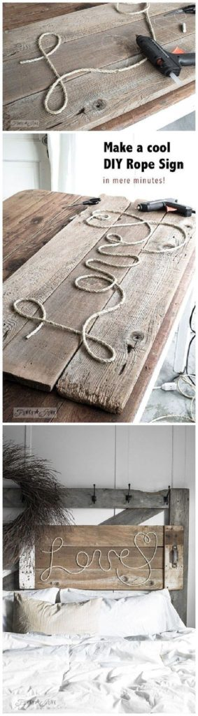 Easy DIY Valentines Day Farm House Love Rope Sign, from the Ultimate DIY Valentines Day Guide, gifts for him, DIY boyfriend gifts, Valentines Day decor, crafts, kids, for her