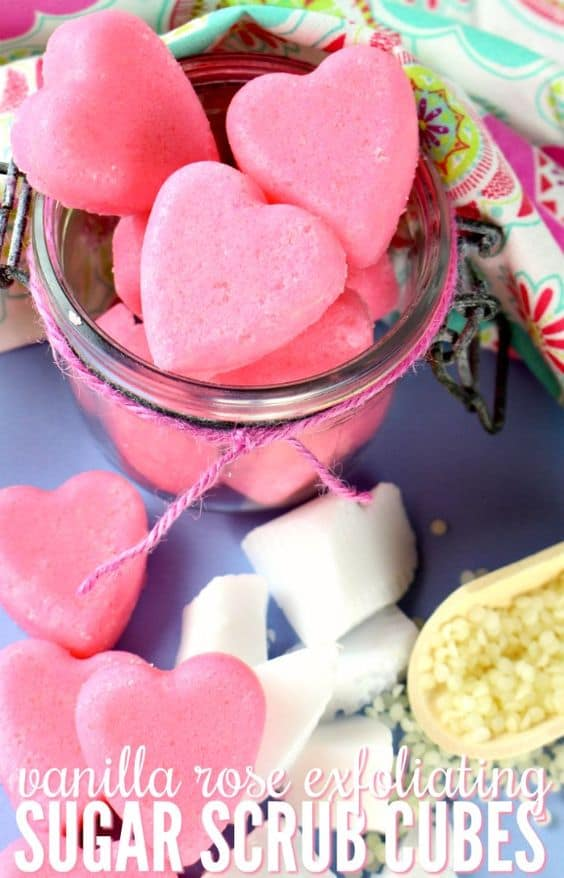Easy DIY Valentines Day Sugar Scrub Cubes, from the Ultimate DIY Valentines Day Guide, gifts for him, boyfriend gifts, Valentines Day decor, crafts, kids, for her