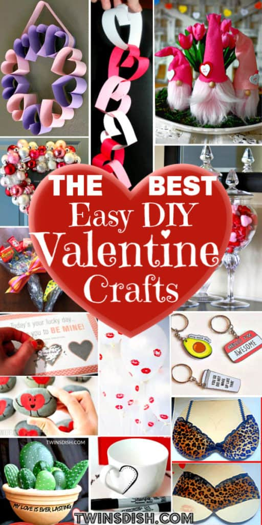 The best easy DIY Valentine's Day crafts and gifts for kids, for adults, for friends, for boyfriend for teens, and for teachers. Over 100 crafts, decorations, cards, puns, and candy ideas for home, or for school.