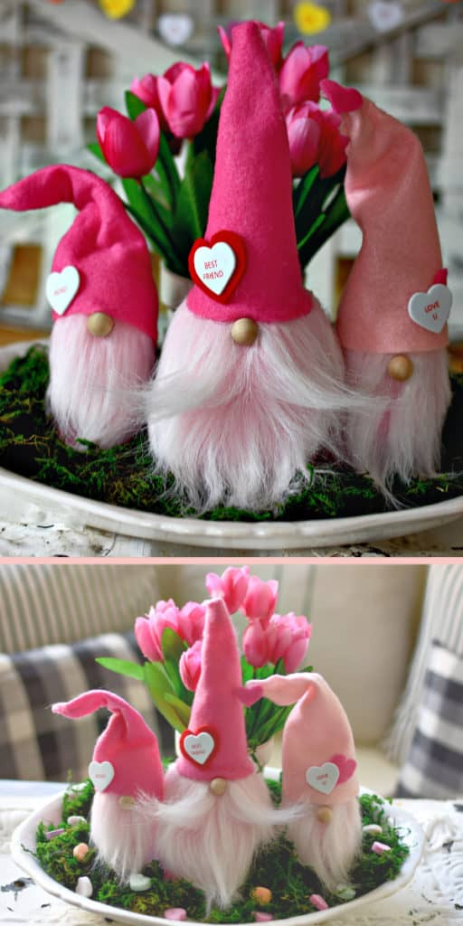 Easy DIY valentines Day Gnome using dollar store items, for kids, for Valentines Day decor, for parties, for dinner, for crafts, from The ultimate DIY Guide to Valentines day - Twins Dish
