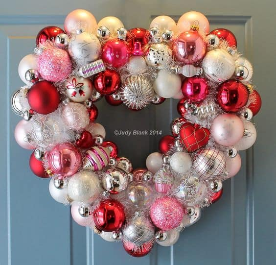 DIY Valentines day Balls Wreath for your door, crafts, kids, dinner, parents, and party.