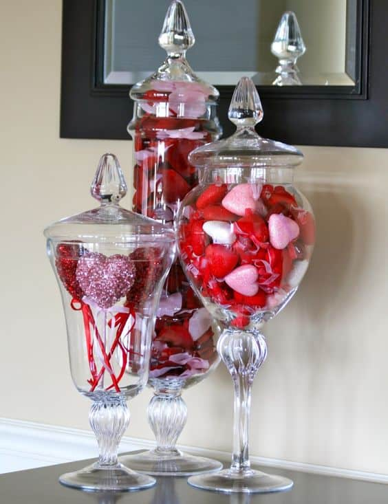 Easy DIY Valentines Day Apothecary Jar Decor Ideas for your home and Mantel. Decor, crafts, Table Decor, from the Ultimate DIY Guide To Valentines Day