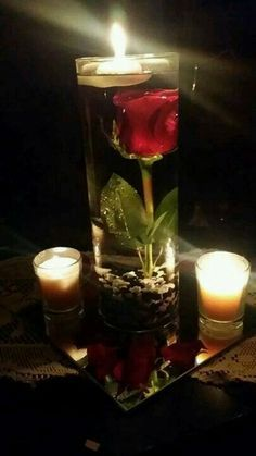 Use a fake or real rose, water, marbles, and candle to make this easy DIY Valentines Day Table. DIY boyfriend gifts. Romantic dinner ideas.