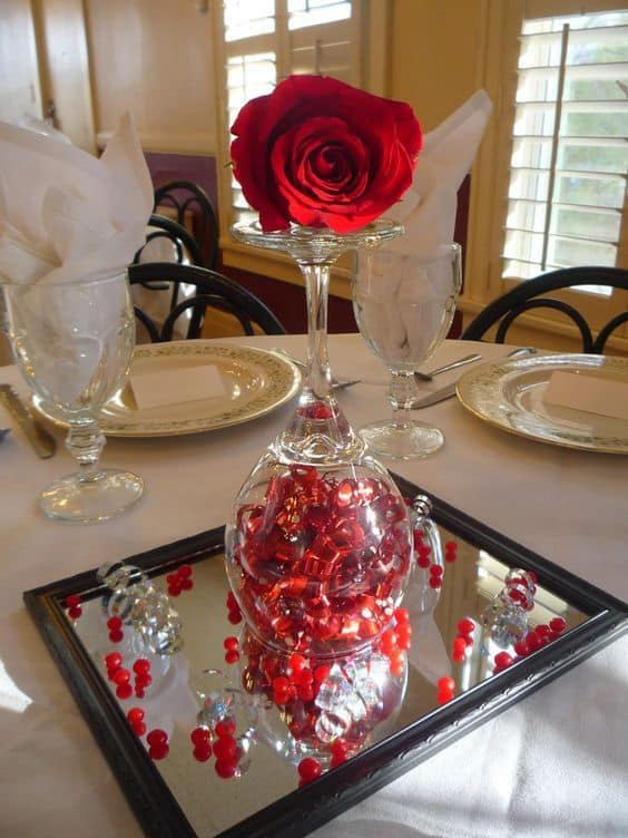Use a fake or real rose for this Easy DIY Valentines Day Table Decor Idea, for Dinner dates, for center pieces, for him, for her, for Boyfriend, for date night.