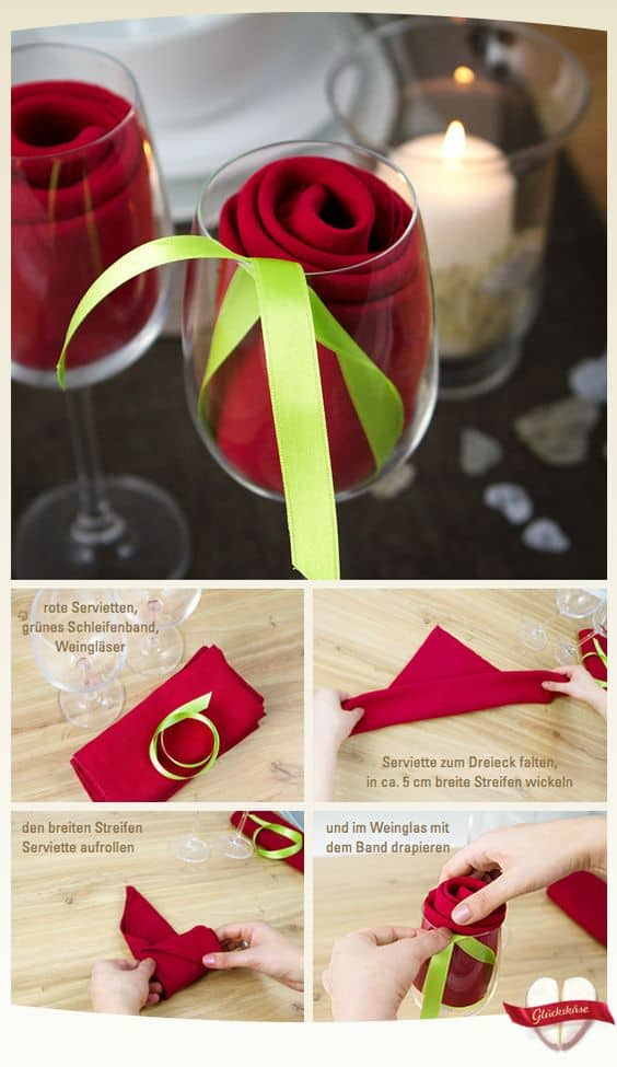 Easy Way To Fold a Napkin into a Rose for a Romantic and Festive Valentines Day Dinner Decor Idea, for him, for her, for boyfriend, for Galentines, for kids, crafts, table decor, dinner date, brunch, lunch