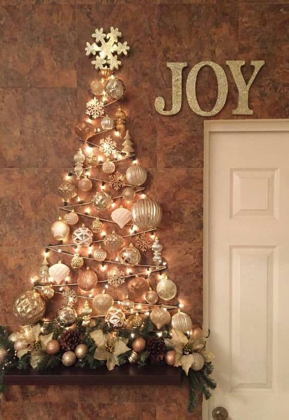 Wall Christmas Tree Decoration Gold