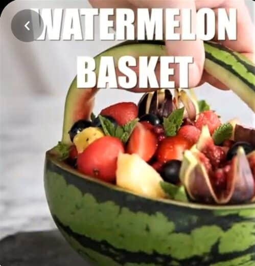 DIY Watermelon basket Graduation Party Fruit Food