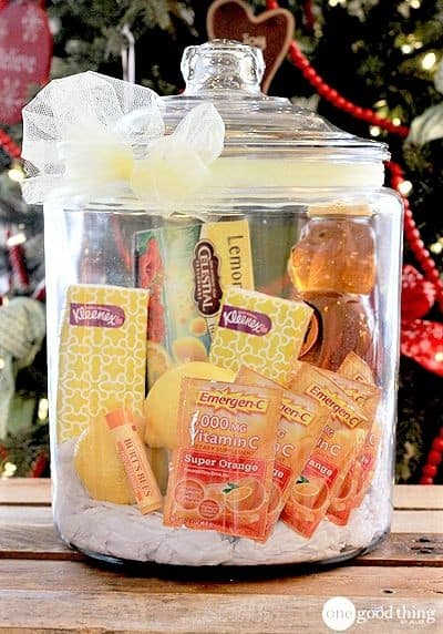 Get well soon gift basket for someone who has a cold