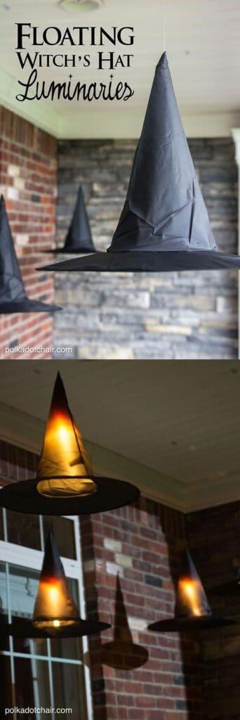 Dollar Store Witches Hat Luminaries Halloween Decor