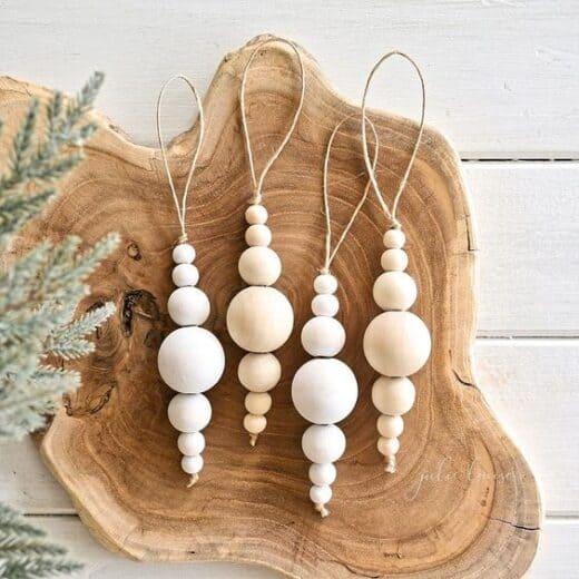 DIY Rustic Wood Bead Christmas Ornaments