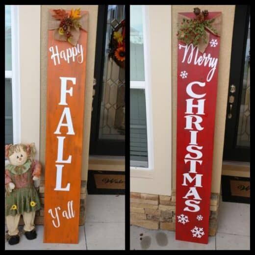 Wood Sign Fall and Christmas Craft Porch Decor